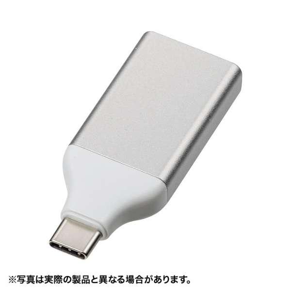 [USB-C オス→メス DisplayPort 4K] 変換アダプタ AD-ALCS-DP シルバー