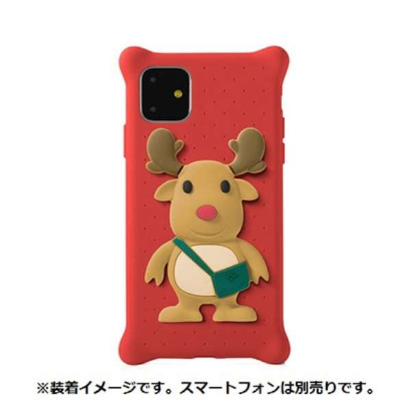 Bone キャラクター付き iPhone11用ケース PhoneBubbleFigure トナカイ PH19082-DEE レッド