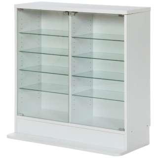 ガラスコレクションケース 5段 ロータイプ 浅型 ホワイト(高さ90cm)