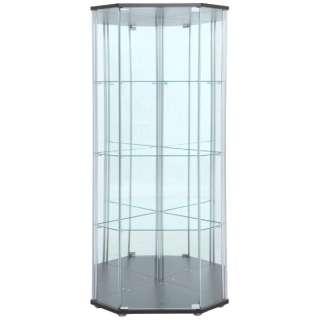 ガラスコレクションケース 4段(背面ミラー付き) コーナータイプ ブラウン(高さ162cm)