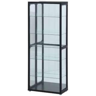 ガラスコレクションケース 6段(4つ扉) ブラック(高さ180cm)