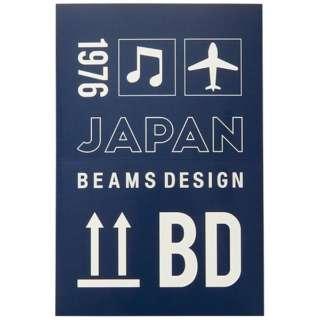 BEAMS DESIGN トランクラベルスクエアステッカー ネイビー GW-BD55-006