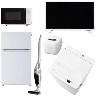 一人暮らし家電セット6点  [TAG label by amadana] (冷蔵庫、洗濯機、電子レンジ、炊飯器、クリーナー、テレビ)