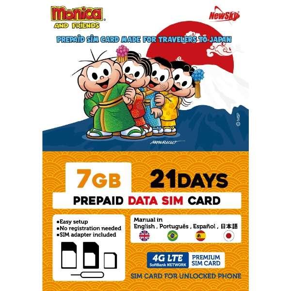 ナノSIM ソフトバンク回線「MonicaSIM 7GB/21Days Prepaid」 NS-MS7G21D-MO [SMS非対応 /ナノSIM]