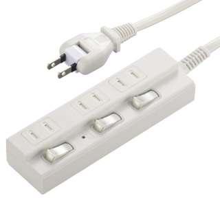 個別スイッチ付節電タップ3個口2m 白 HSBK-TPK32-W