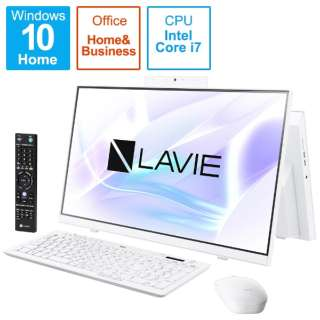 PC-HA770RAW デスクトップパソコン LAVIE Home All-in-one(HA770/RA ダブルチューナ搭載) ファインホワイト [23.8型 /HDD:3TB /SSD:256GB /メモリ:8GB /2020年春モデル]