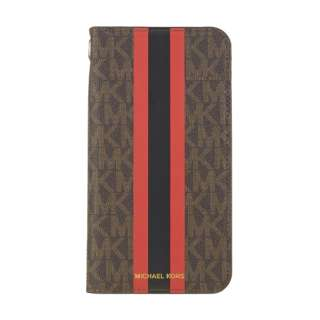 MICHAEL KORS - Folio Case for iPhone 11 [Red Stripe with Charm] MICHAEL KORS Red