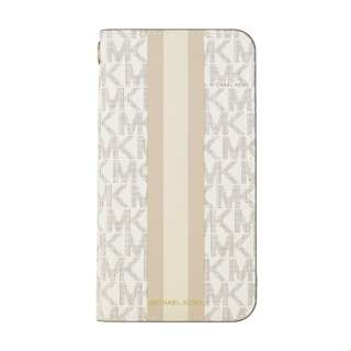 MICHAEL KORS - Folio Case for iPhone 11 [Beige Pink Stripe with Charm] MICHAEL KORS Pink