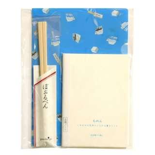 [クリアファイル文具セット] クリアファイル(豆腐一丁柄・A5)+豆腐ノート(A6)+割り箸ボールペン ブルー CFA5S-02