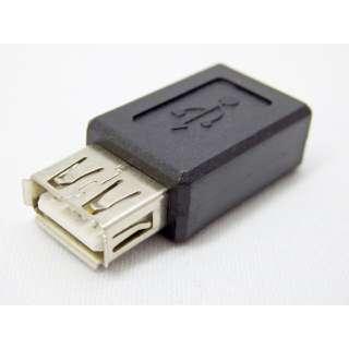 [USB-A メス-メス micro USB]中継アダプタ ブラック SMCF-UAF