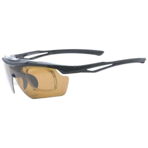 度付き対応 跳上げ 偏光スポーツサングラス ES-S114 C1(ブラック×ブラックマット/偏光スモーク・偏光ブラウン)