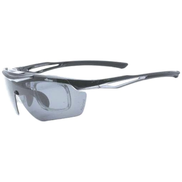 度付き対応 跳上げ 偏光スポーツサングラス ES-S114 C2(ブラック×シルバー/偏光スモーク・偏光ブラウン)