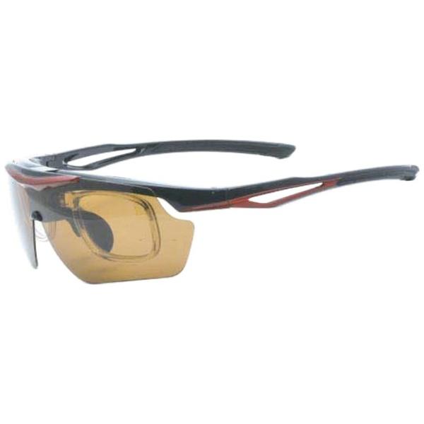 度付き対応 跳上げ 偏光スポーツサングラス ES-S114 C3(ブラック×レッド/偏光スモーク・偏光ブラウン)