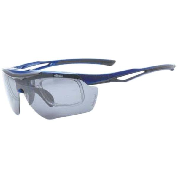 度付き対応 跳上げ 偏光スポーツサングラス ES-S114 C4(ブルー×ブラック/偏光スモーク・偏光ブラウン)