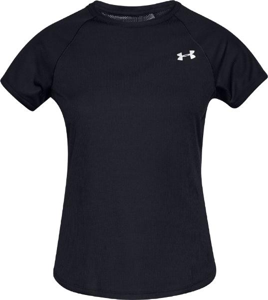 XLサイズ レディース トレーニングTシャツ UAスピード ストライド ショートスリーブ(ブラック×ブラック×リフレクティブ) 1326462