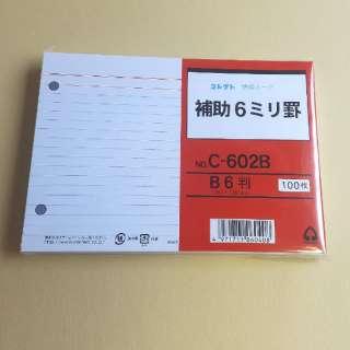 情報カード補助6ミリ罫両面2穴付