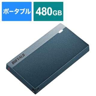 SSD-PSM480U3-MB 外付けSSD USB-C+USB-A接続 (PS5/PS4対応) モスブルー [ポータブル型 /480GB]