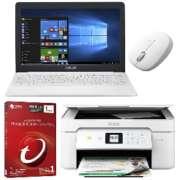 【新生活応援】モバイルノートパソコンセット ホワイト色 4点(11.6型ノートパソコン、マウス、セキュリティソフト、複合機)