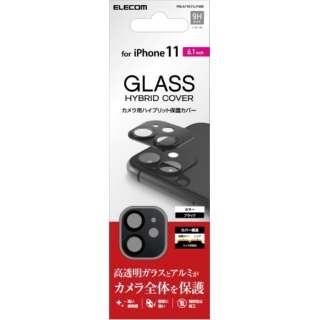 iPhone11専用 カメラレンズフィルム デザインフレーム ガラス ブラック PM-A19CFLLP4BK