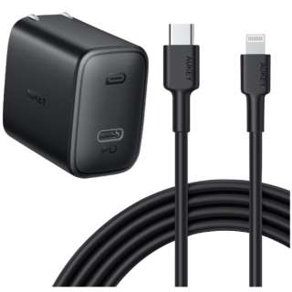 AUKEY(オーキー) 限定セット USB充電器 PA-F1 18W ケーブル [Type-C to Lightning] 1m ブラック CCB-05 [1ポート /USB Power Delivery対応]