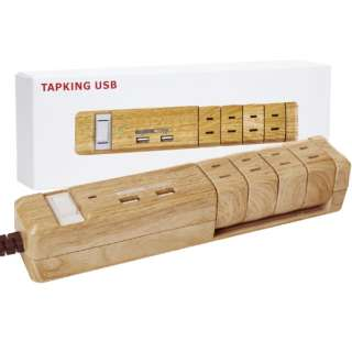 電源タップ TAPKING USB ベージュウッド PT604BEWD [1.8m /4個口 /2ポート /スイッチ付き(一括)]