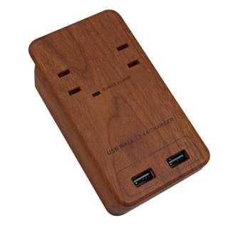 壁挿し電源タップ TAPKING USB WALL ダークウッド PT221DW [直挿し /2個口 /2ポート /スイッチ無]