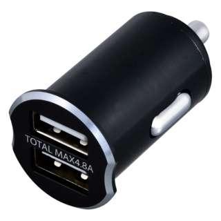 USB2ポート DCアルミパワープラグ 計4.8A ブラック F303