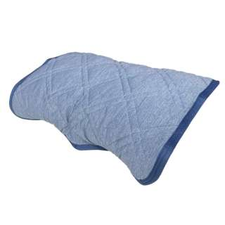 【涼感パッド】リバーシブル枕パッド 裏ジャガードニット (45×55cm/ブルー)
