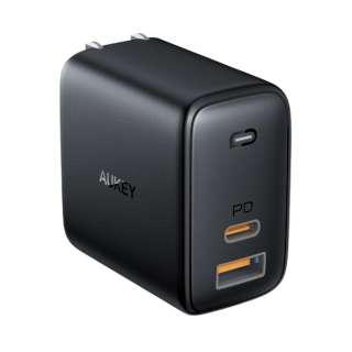AUKEY(オーキー) USB充電器 Omnia Mix 65W  [USB-A 1ポート/USB-C 1ポート] ブラック PA-B3-BK [2ポート /USB Power Delivery対応 /GaN(窒化ガリウム) 採用]