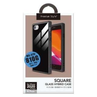 iPhone SE(第2世代) ガラスハイブリッドケース ブラック PG-20MGT09BK
