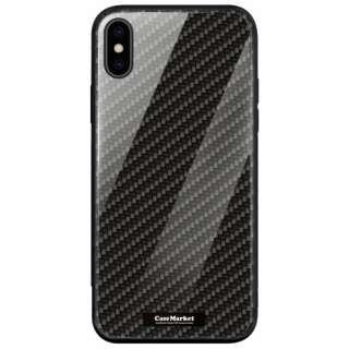CaseMarket 背面強化ガラス 背面ケース apple iPhone XS (iPhoneXS) ブラック カーボン デザイン 0016 iPhoneXS-BCM2G0016-78