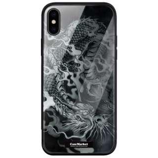 CaseMarket 背面強化ガラス 背面ケース apple iPhone XS (iPhoneXS) 龍の咆哮 黒龍 昇り竜 0061 黒龍 iPhoneXS-BCM2G0061-78