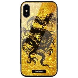 CaseMarket 背面強化ガラス 背面ケース apple iPhone XS (iPhoneXS) 昇り龍 黒龍 - 金風 昇龍 手帳 2199 黒龍 iPhoneXS-BCM2G2199-78