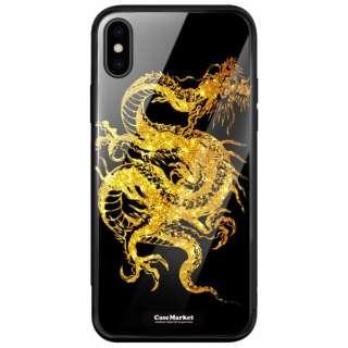 CaseMarket 背面強化ガラス 背面ケース apple iPhone XS Max (iPhoneXSMax) 昇り龍 金龍 - 金風 昇龍 手帳 2200 金龍 iPhoneXSMax-BCM2G2200-78