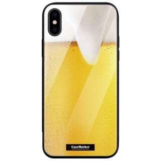 CaseMarket 背面強化ガラス 背面ケース apple iPhone XS (iPhoneXS) 手帳 de 生ビール ? 生中 2558 iPhoneXS-BCM2G2558-78