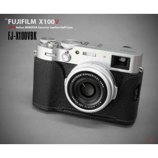 富士フイルム X100V用本革カメラハーフケース ブラック FJ-X100VBK