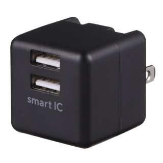 AC-USB アダプタ 2ポート 2.4Ah スマートIC ブラック GH-ACU2F-BK