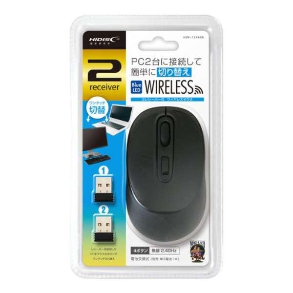 HDM-7146BK マウス HIDISC ブラック [BlueLED /4ボタン /USB /無線(ワイヤレス)]