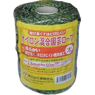 斎藤撚糸 ナイロン混合園芸ロープ 太 50m巻 斎藤撚糸