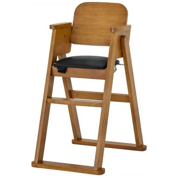 木製折りたたみハイチェア シンプル(ブラウン)