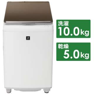 ES-PW10E-T 縦型洗濯乾燥機 ブラウン系 [洗濯10.0kg /乾燥5.0kg /ヒーター乾燥(排気タイプ) /上開き]