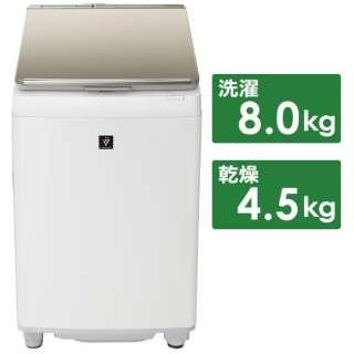 ES-PW8E-N 縦型洗濯乾燥機 ゴールド系 [洗濯8.0kg /乾燥4.5kg /ヒーター乾燥(排気タイプ) /上開き]