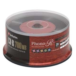 データ用CD-R Phono-R フォノアール SR80FHX20SV6 [20枚 /700MB]