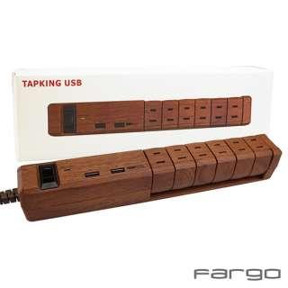 電源タップ TAPKING USB ダークウッド PT601DW [1.8m /6個口 /2ポート /スイッチ付き(一括)]