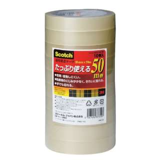 スコッチ 透明粘着テープ 500 50m巻 巻芯径76mm 500-3-18-10P