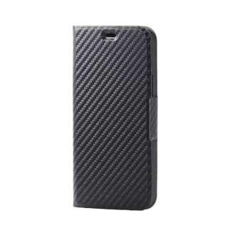 iPhone 12/12 Pro 6.1インチ対応 レザーケース 手帳型 UltraSlim 薄型 磁石付き カーボン調(ブラック)