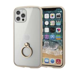 iPhone 12/12 Pro 6.1インチ対応 ハイブリッドケース TOUGH SLIM LITE フレームカラー リング付き アイボリー