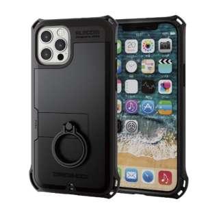 iPhone 12/12 Pro 6.1インチ対応 ハイブリッドケース ZEROSHOCK リング付き ブラック