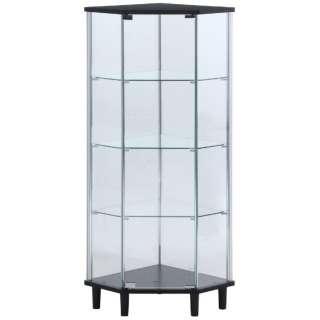 ガラスコレクションコーナーボード ブラック(高さ128cm)