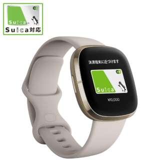Fitbit Sense GPS搭載 スマートウォッチ ルナホワイト/ソフトゴールド L/S サイズ ルナホワイト FB512GLWT-FRCJK [6日以上]